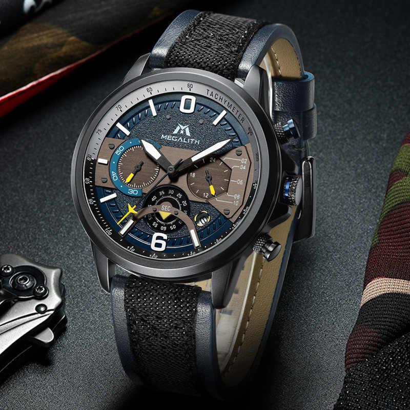 2019 mégalith mode montres hommes sport chronographe Quartz hommes montre étanche lumineux Quartz mâle horloge Relogio Masculino