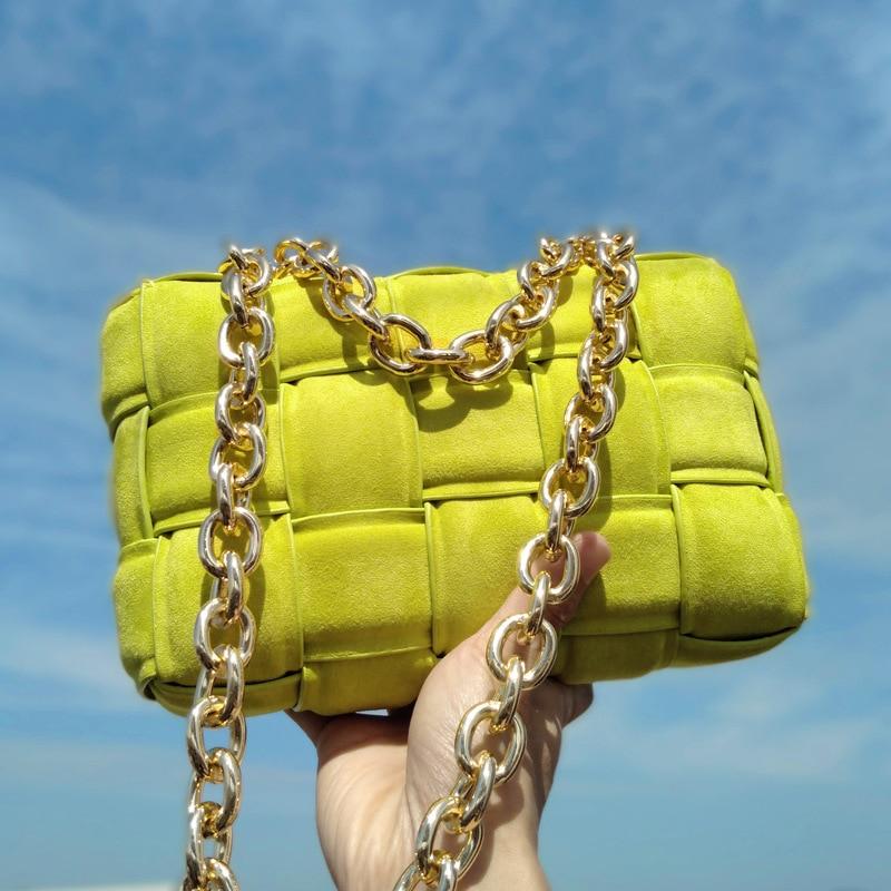 Роскошные дамские сумочки, дизайнерская вязаная сумка на плечо из натуральной воловьей кожи с цепочкой, мессенджер, плетеные кошельки и сум...