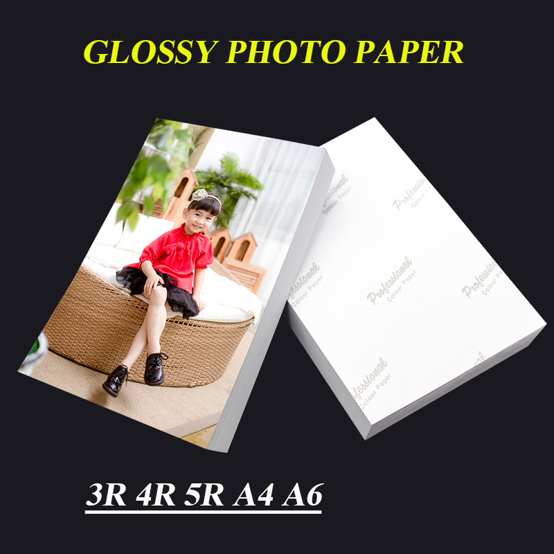 Photo Paper 3R 4R 5R A4 A6 100 Sheets For Inkjet Printer High Glossy Photographic Coated Printing Paper