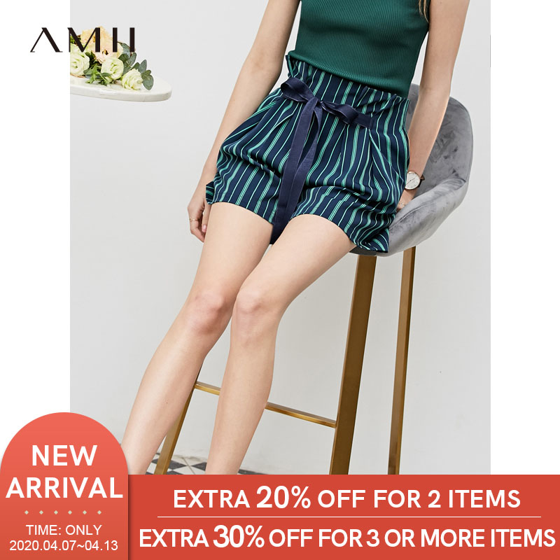 Amii Minimalist Spring Summer Pleated Stripe Shorts Women High Waist Belt Loose Wide-leg Shorts 11930119