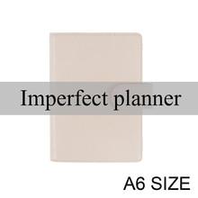 Cubierta de cuaderno de cuero genuino Imperfect limitada A6 planificador diario, papelería, Bloc de notas pequeño, organizador de Agenda, Bolsillo grande