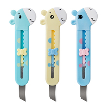 2Pcs Portable Mini Manual Knife Safe For Kids Cartoon Giraff