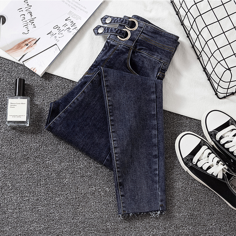 2020 New Skinny Jean Female High Waist Elastic Spring Summer Ankle-length Gray Casual Denim Pencil Pants Woman
