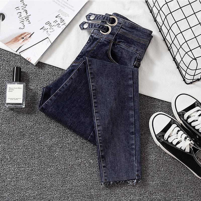 2020 New Skinny Jean Female High Waist Elastic Spring Summer Ankle-length Gray Casual Denim Pencil Pants Woman