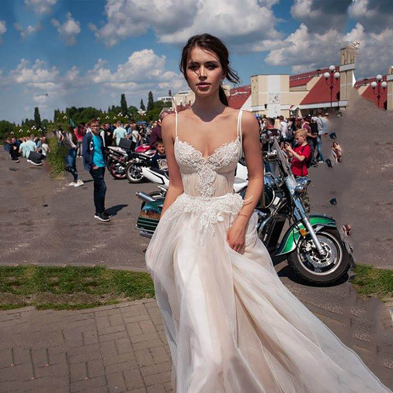 LORIE Princess Wedding Dress A Line Vestidos De Novia Appliqued Lace Sexy Bridal  Dresses Spaghetti Straps Boho Wedding Gowns