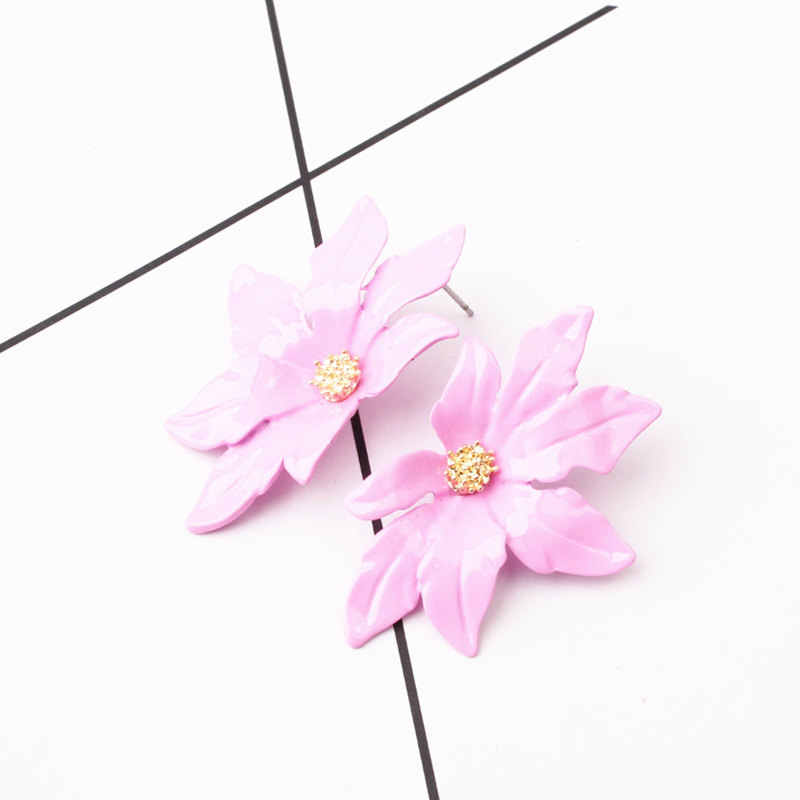 Ufavoirt New Design Fashion Jewelry Elegant big double Flower Mixed Earrings Summer Style Beach Party earring for women