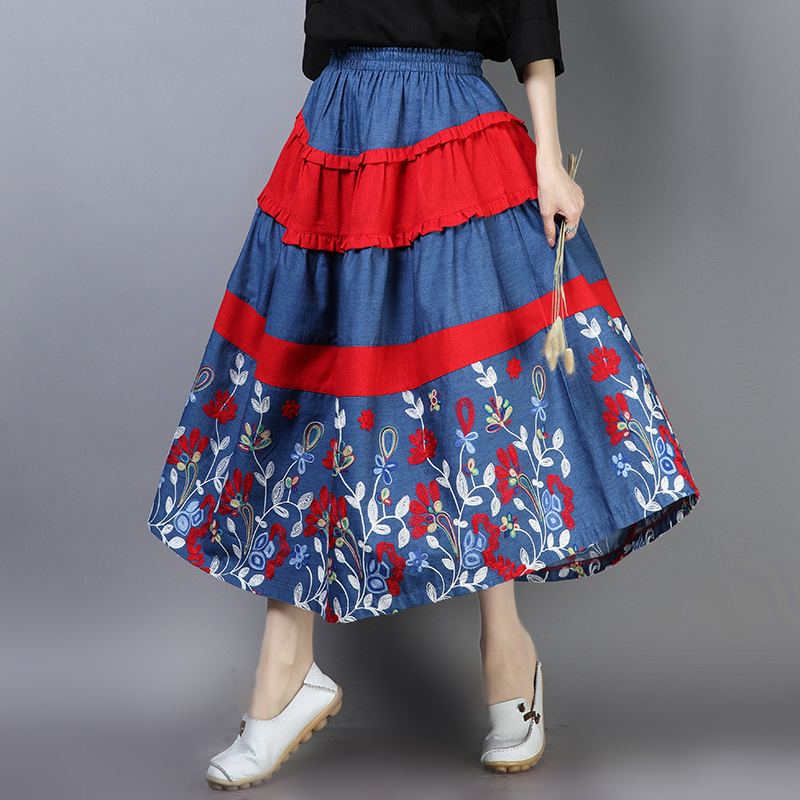 Online Chinese Store Long Skirt Women Autumn Mexico Style Ethnic Bohemian Long Blue Red Patchwork Midi Skirt