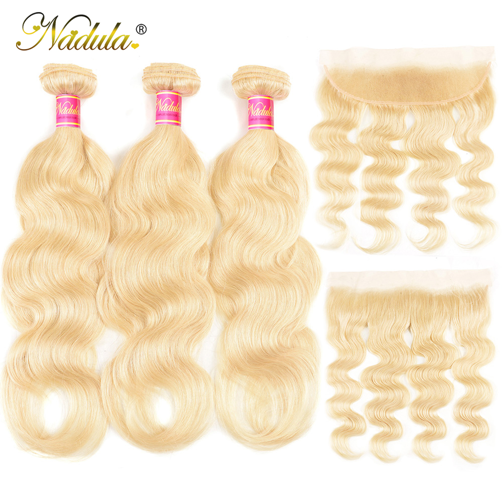Nadula Hair Body Wave 613 Blonde Hair Wave Bundles With Lace Frontal 13x4 Ear To Ear Frontal Brazilian Remy Human Hair Extension