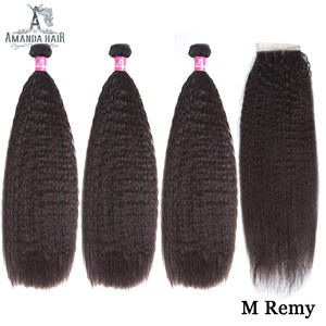 Malaysian Kinky Straight Malaysian Hair Bundles with Closure Preplucked Hairline Remy Human Hair Weave Bundles with Lace Closure
