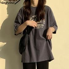 T-shirt manches courtes col rond femme, Streetwear ample et Simple, Style coréen, mode Harajuku, Ulzzang