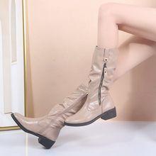 Ботинки женские кожаные до середины икры Классическая обувь