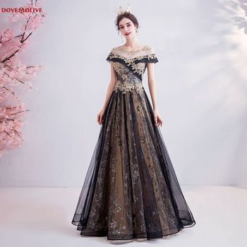 цена на Black Sequined Evening Dresses Long Short Sleeves 2020 Scoop Neck A Line Floor Length Lace Up Back Prom Gown Formal Party Woman