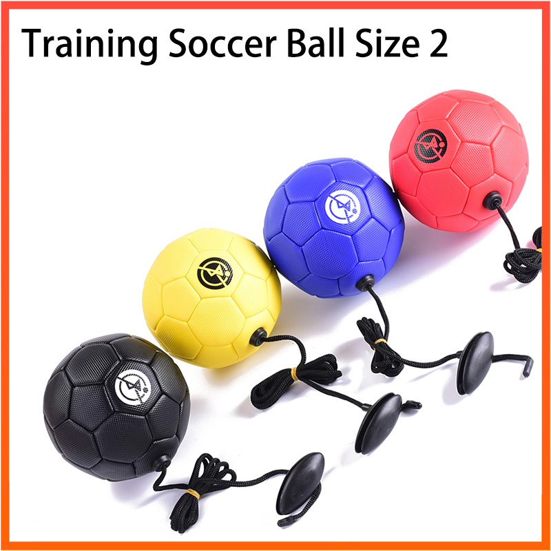 Football Training Ball Kick Soccer Ball TPU Size 2 Football Rope Touch Solo Kickwith String Beginner Trainer Practice Belt