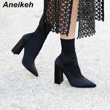Aneikeh Slim Stretch Ankle Boots for Women Pointed Toe Sock Boots Square High Heel Boots Shoes Woman Fashion Bota Feminina 41 luxury design knitted peep toe boots summer sock ankle women elastic stretch botas high heels pumps ladies dress bota feminina