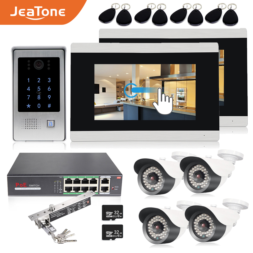 7'' WIFI IP Touch Button Video Door Phone Intercom Door Bell Building Access Control System Touch Screen Motion Detection 1 To 2