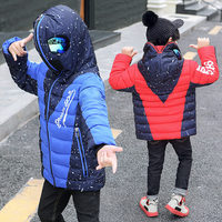 2019 Winter Warm Kids Boys Jackets With Glasses For Children Waterproof Cotton Padded Parkas with Glasses Teenage Hoodies Coat