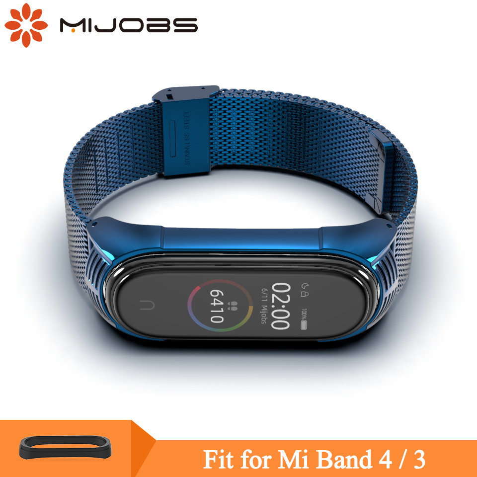 Mijobs Mi Band 4 Strap Metal For Xiaomi Mi Band 4 Stainless Steel Bracelet Mi Band 4 3 Wrist Straps Miband 3 Smart Wristband NFC