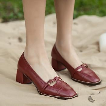 EshtonShero Spring Platform Shoes Women White Wedding Shoes Burgundy Thick Med Heels Fashion Party Ladies Pumps Size 3-9