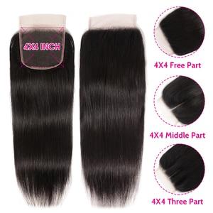 Image 3 - Unice髪5X5 hdレース閉鎖28 30インチペルーストレートヘア3バンドル4個4 × 4スイスレース人間の髪織りレミーヘアー