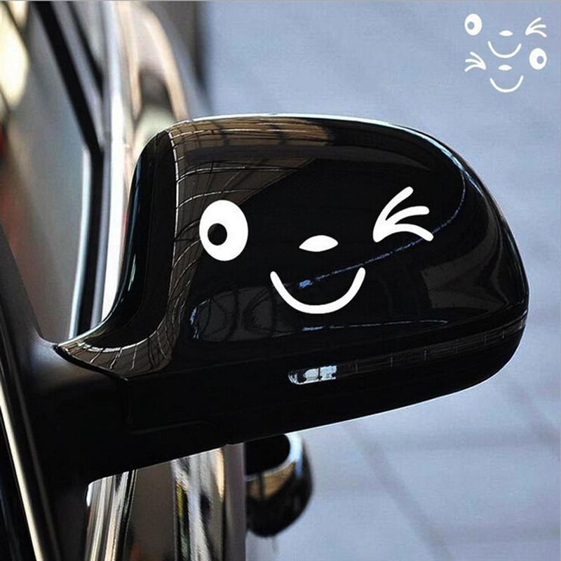 Reflective Cute Smile Car Sticker Rearview Mirror Sticker Car Styling Cartoon Smiling Eye Face Sticker Decal For All Cars
