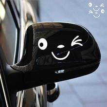 Odblaskowe śliczne uśmiech naklejki samochodowe naklejka na lusterko boczne Car Styling Cartoon uśmiechnięte oko twarz naklejka naklejka na wszystkie samochody