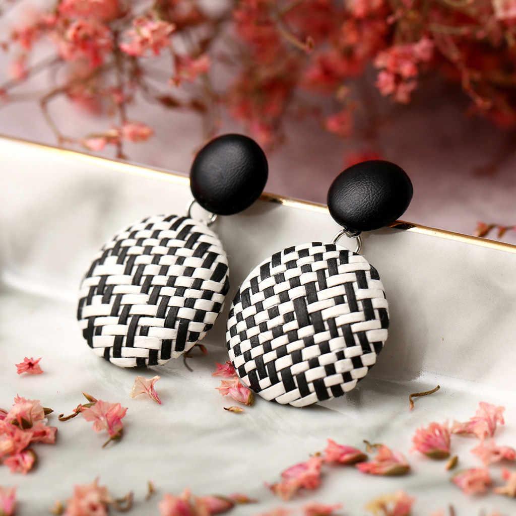 Fahsion Ear Stud Ear Clip Earrings Round Party Women Boho Bohemian Wood Bamboo Rattan Geometric Round Square Ladies Jewelry