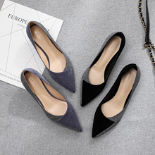 2020 Shoes Woman Slip Ons Small Cat Thin Med Heels Pumps Solid Flock Bowtie Butterfly knot Office Lady Elegant Sexy Wedding Pump