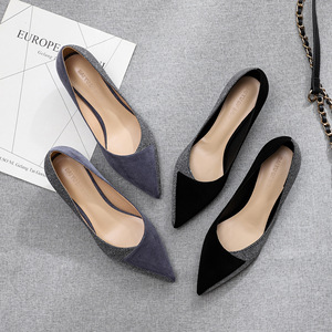 Image 1 - 2020 Shoes Woman Slip Ons Small Cat Thin Med Heels Pumps Solid Flock Bowtie Butterfly knot Office Lady Elegant Sexy Wedding Pump