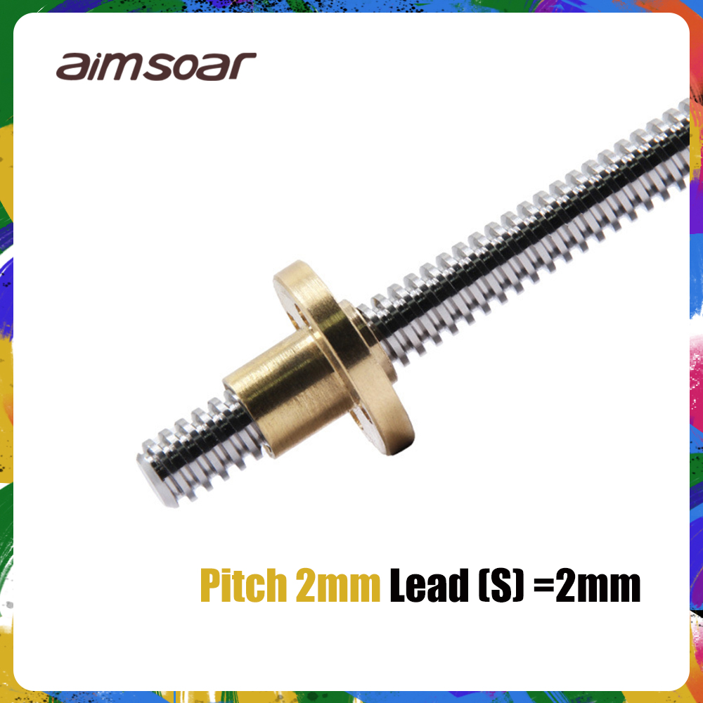 T8 Lead Screw OD 8mm Pitch 2mm Lead 2mm 100mm 150mm 200mm 250mm 300mm 330mm 350mm 400mm 500mm With Brass Nut For Reprap 3D Print