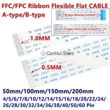 10Pcs 0.5 milímetros FFC FPC Plano Flexível Cabo A/B Tipo 50/100/150/200mm 4P 6/7/8/10/12/14/15/16/18/20/22/26/28/30/32/34/38/40/50/60PIN