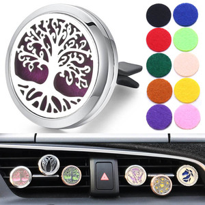 30mm Tree of Life Stainless Steel Car Air Freshener Perfume Essential Oil Diffuser Locket Random Send 1pcs Oil Pads as Gift 4579(China)