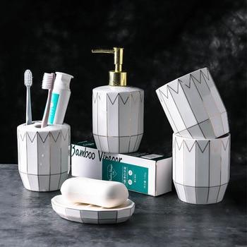 European gold line sanitary ware five-piece wash set bathroom supplies kits mug ceramic bath supplies