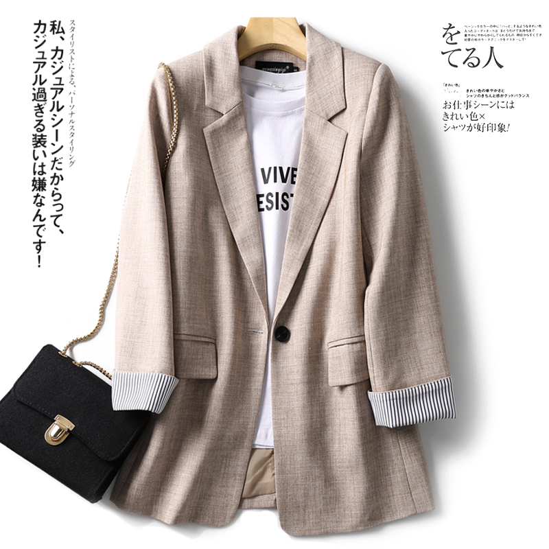 Large Size Korean Loose Ladies Blazer Casual Solid Beige Simple Suit Jacket Vintage Abrigos Mujer Party Women Jacket MM60NXZ