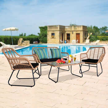4pcs Outdoor Wicker Rattan Chair Patio Furniture Set with Table Cushions Tan 1 Loveseat Chair+2 Single Chair+1 Table - DISCOUNT ITEM  20 OFF Furniture