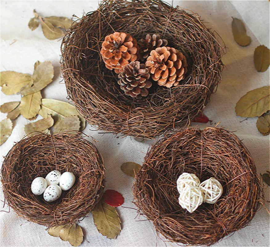 SUEF nido de espuma Artificial Mini PE codorniz huevo Ave Artificial nido para boda hogar jardín decoración DIY artesanía para Pascua @ 3
