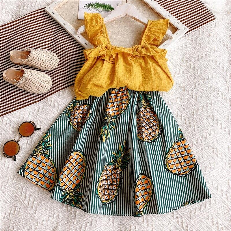 Girls Clothing Sets Summer Fashion Girls Flying Sleeve Sling Tops+Pineapple Skirts 2Pcs Girls Clothes