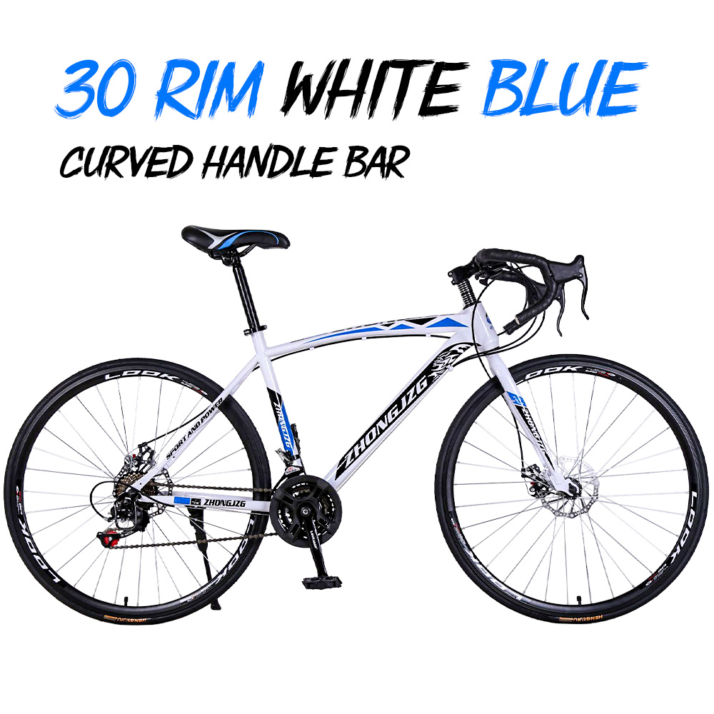 High Carbon Steel 30 Rim road bicycle racing car 30 speed bend  double disc brake  700C speed change student bicycle Bicycle     - title=