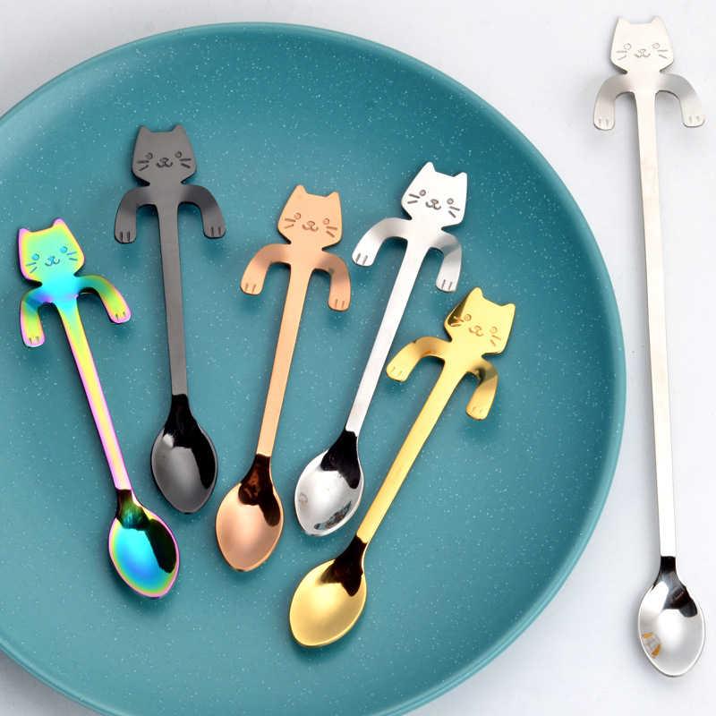 Stainless Steel Kartun Kucing Gantung Cangkir Sendok Kopi Sendok Teh Sendok Makanan Penutup Es Krim Sendok Teh Peralatan Makan