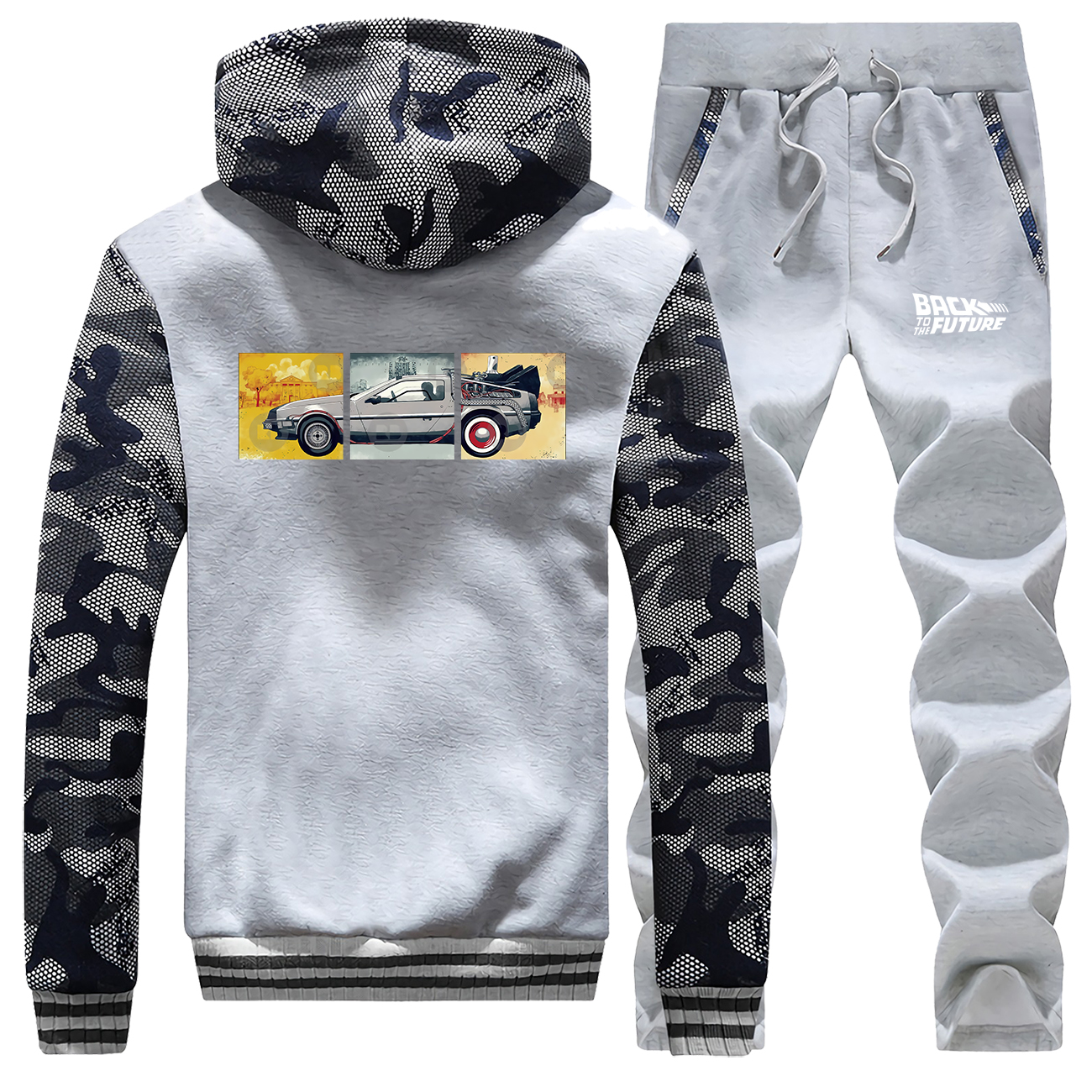 Back To The Future Print Men's Full Suit Tracksuit Casual Comfortable Camo AE86 Jackets Fashion Military Warm Pants Sweatshirt