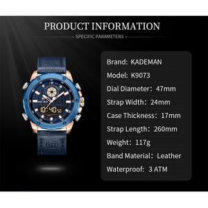 Image 3 - KADEMAN New Watch Men Fashion Sport Quartz Men Watch Top Luxury Brand Date Alarm Leather Strap Waterproof 3ATM Relogio Masculino