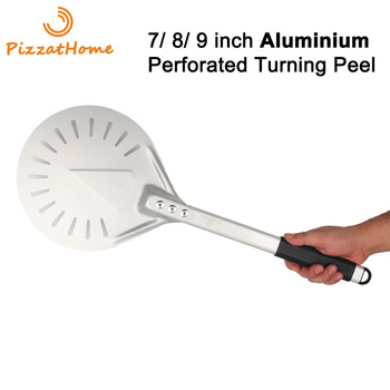 PizzAtHome 7/ 8/ 9 Inch Perforated Pizza Turning Peel Pizza Shovel Aluminum Pizza Peel Paddle Short Pizza Tool Non-Slip Handle