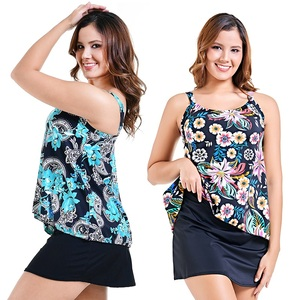 Image 5 - PERONA Women Plus Size Swimsuit Tummy Control Tankini Set Ruched Swimwear Push Up Swimdress Retro Beachwear Bathing Suits S 10XL