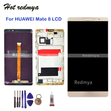 For Huawei Mate 8 6.0 inch LCD Display Touch Screen Digitizer With Frame Assembly Replacement For Mate 8 Screen +Free Tool+GLUE white black gold for huawei ascend mate s lcd display screen touch digiziter assembly with frame free shipping