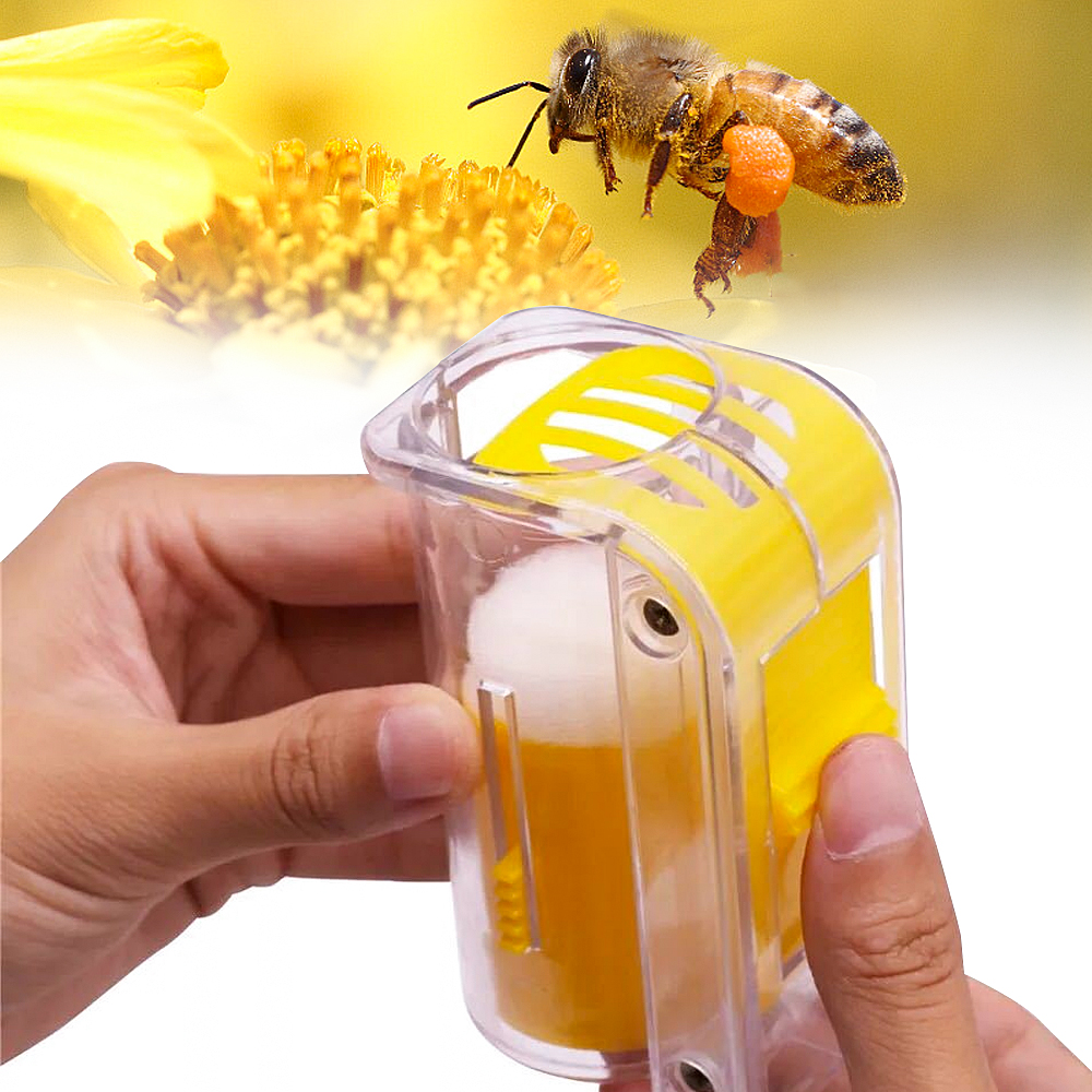 1Pc Bee Queen Marker Bottle Bee Mark Cage Plastic One Handed Marking Catcher With Plunger Plush Garden Beekeeping Supplies