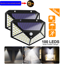 100 LED Four-Sided Solar Power Light 3 Modes 120 Degree Angle Motion Sensor Solar Wall Lamp Outdoor Waterproof Garden Yard Lamps