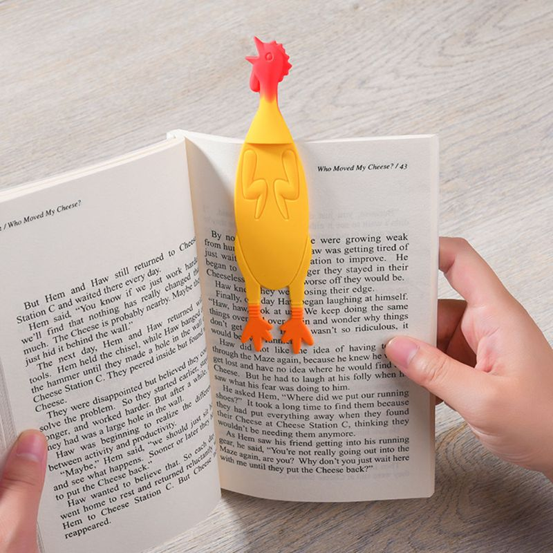 Shrilling Screaming Chicken Silicone Bookmarks Creative Book Marker Stationery