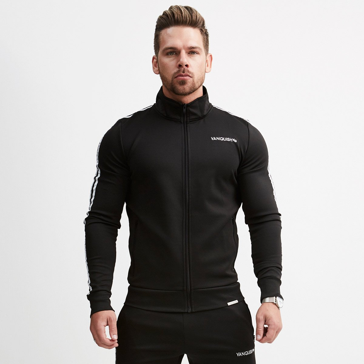 Muscle Brother Sports Fitness Suit Men's Stand Collar Zipper Cardigan Coat Europe And America VQ Sleeves Brace Hoodie