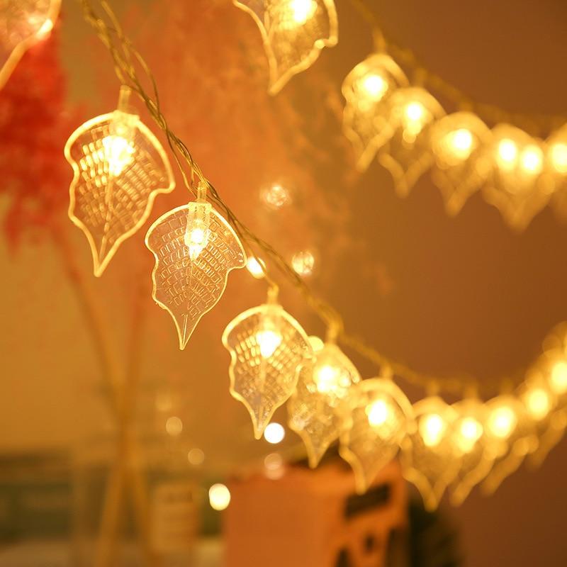 Led Beautiful Transparent Leaf Shape Battery String Lights 10M Guirlande Led Noel Decoration For Christmas Garland On The Window