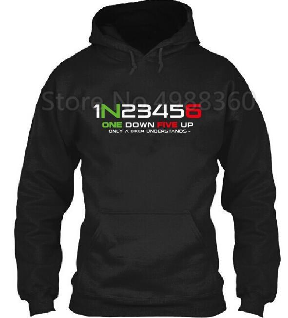 1N23456 1 N 2 3 4 5 6 Motorcycle Motorbike Gear Shift Hoodie Hooded Hoody Gears