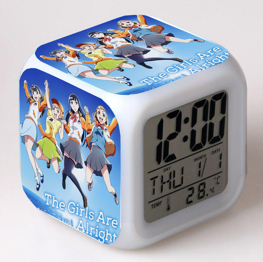 Despertadores digitales con dibujos animados para niños, Reloj de escritorio de dormitorio con luz nocturna, 7 colores, Anime, más allá del universo